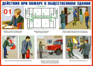 действия при пожаре в общественном здании